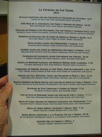 La Cuchara de San Telmo: The menu, also in English