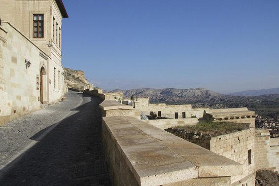 Kayakapi Premium Caves - Cappadocia: The hill you'll walk up from your room to reception/parking area