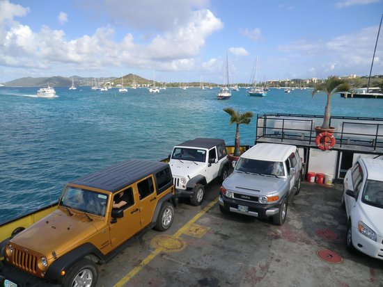 Virgin Islands Ferry - Red Hook: Our white Jeep on ferry
