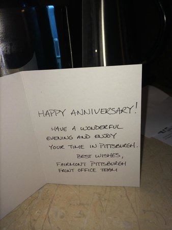 Fairmont Pittsburgh: Hotel gave us a surprise gift for our anniversary!