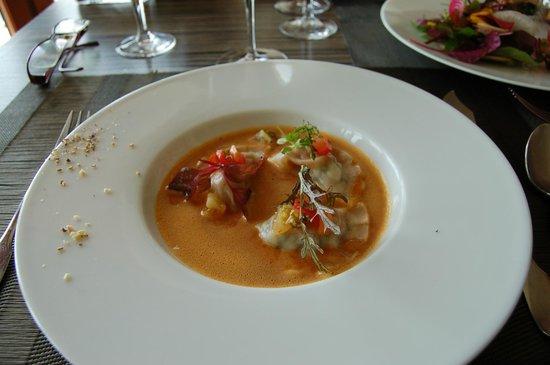 Restaurant Bar Beau Rivage : ravioles de St Pierre jus de coquillages