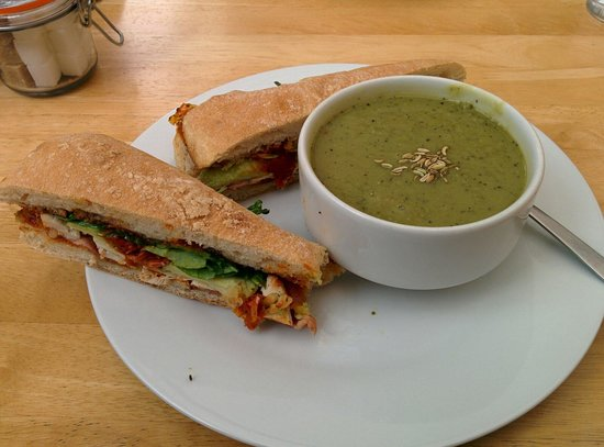 The Wild Flour : Pea and mint soup with club toasted ciabatta.