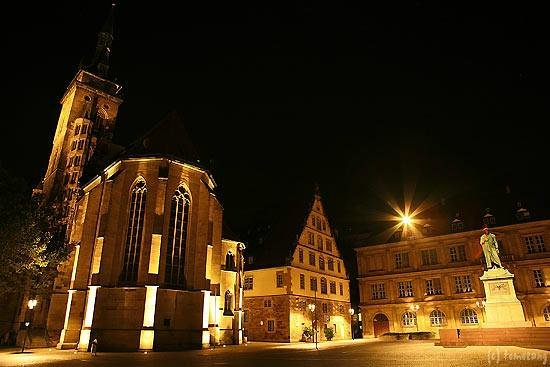 Collegiate Church of the Holy Cross (Stiftskirche): シュトゥットガルト シュティフト教会 夜景