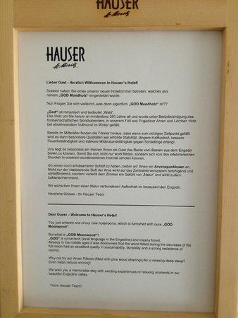 Hauser Hotel St. Moritz: Beschreibung Mondzimmer - einfach toll und regional