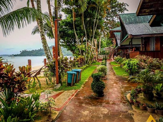 Ausan Beach Front Cottages: Well manicured pathway infront of the cottages.