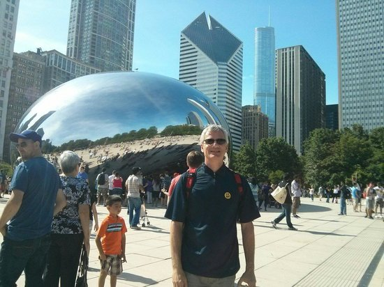 Cloud Gate: Here I am at the bean.  Probably took 100 pictures. Very cool.  Super fun.