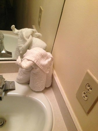 Acacia Beachfront Resort: Sink IN bedroom with cute elephant towel!