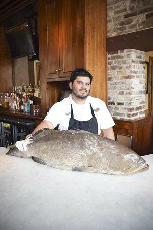 Amen Street Fish & Raw Bar : Chef Ramon with a whole Fresh Fish