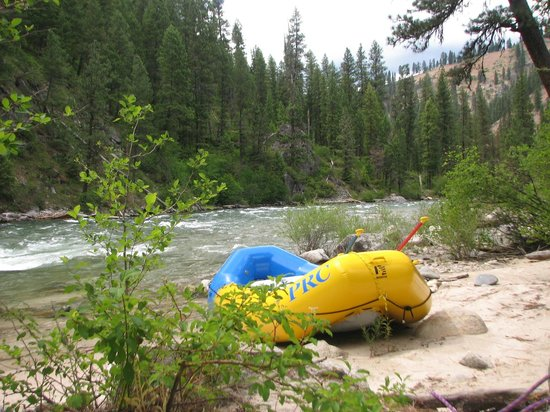 Payette River Company Day Trips: Boat docked at camp