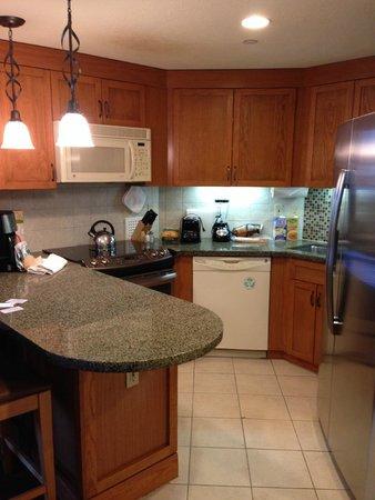 Grand Residences by Marriott, Tahoe - 1 to 3 bedrooms & Pent.: Kitchen, refrigerator, Dishwasher, Stove, Microwave, coffeemaker, blender, tea kettle, etc.