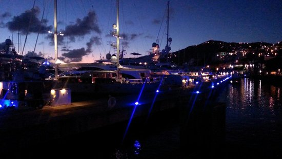 Fat Turtle: The view of the harbor after dark.