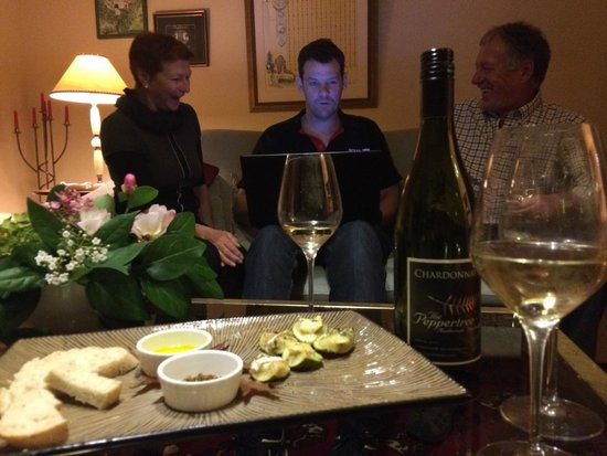 The Peppertree Luxury Accommodation: Chardonnay and delicious nibbles
