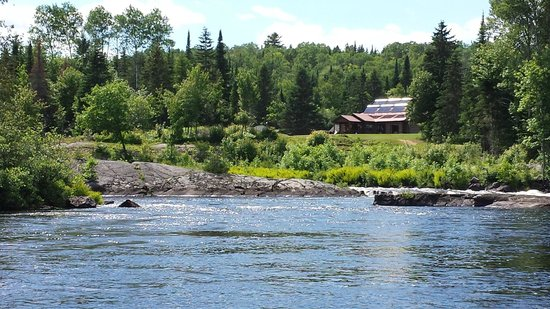 Adventure Lodge: View of Main lodge from Canoe