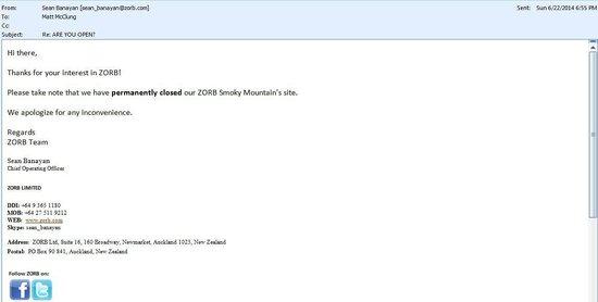 Zorb Smoky Mountains : E-mail from Zorb