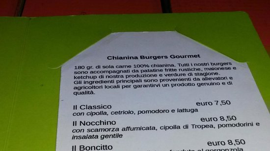 La Diana: menu