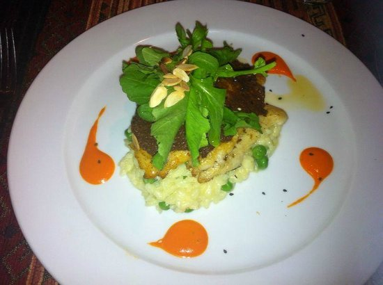 Restaurante Tandory: Linguado com arroz com queijo e folhas