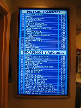 Bar Goiz Argi: The menu