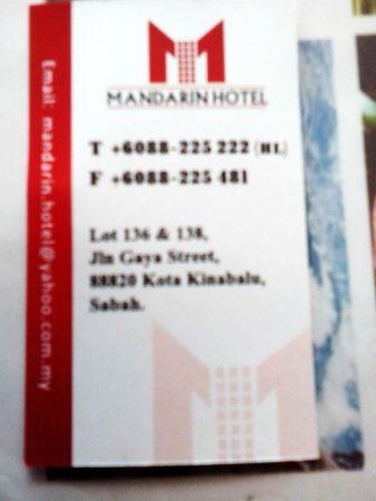 Mandarin Hotel: Businees Card
