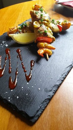 Tapa: Brochetas de Merluza y Gambas: Prawn & Hake Skewers, Griddled, & Served with a Roasted Pepper Sa