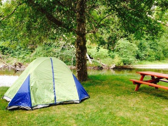 Cedar Grove RV Park & Campground: Our campsite right on Little Qualicum River