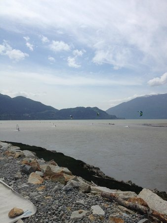 Aerial Kiteboarding: Looking into Howe Sound from the Squamish Spit.