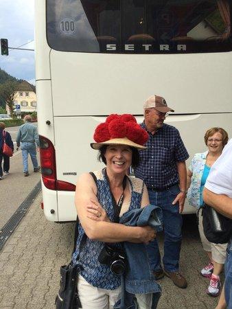 House of Black Forest Clocks: Linda humoring Herr Herr