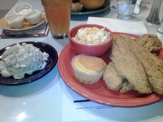 Mama J's Kitchen: my lunch: fried catfish, corn bread, mac & cheese and seafood salad