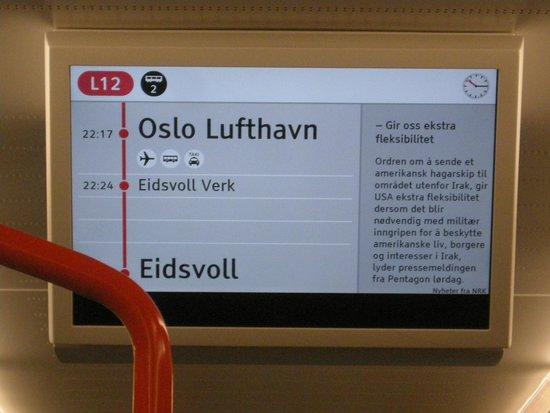 Radisson Blu Airport Hotel, Oslo Gardermoen: écran vidéo dans le train