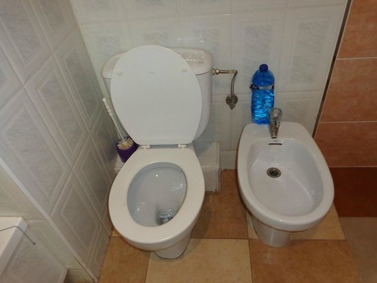 Hotel Piccadilly: Toilet with water bottle to use as flush!