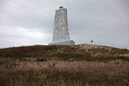 Wright Brothers National Memorial: 60 ft high granite 'wing' marks their achievement