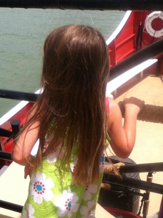 Captain Memo's Pirate Cruise: Overlooking the deck. She's shy and was content to watch the activities from a distance.