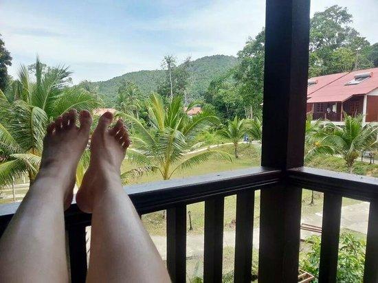 Redang Holiday Beach Villa: view outside our verandah