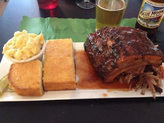 Jersey Shore BBQ: Meat Duo: Pulled pork, baby back ribs, mac & cheese, cornbread