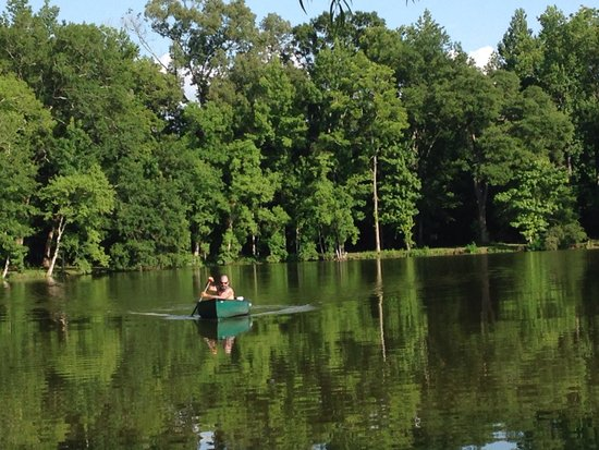 Cajun Country Cottages Bed and Breakfast: Canoe ride on the lake