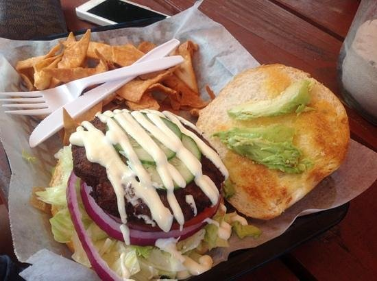 Crabby Chris: crabcake sandwich, california style with house chips