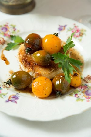 Eden Bistro: KNAFEH WITH GOAT CHEESE & CHERRY TOMATOES