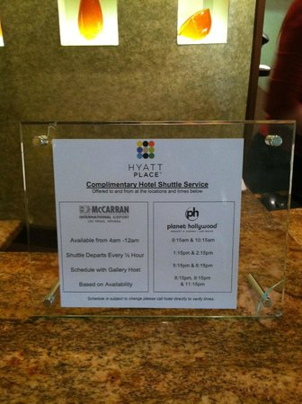 Hyatt Place Las Vegas: Shuttle Schedule to the airport and planet hollywood