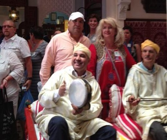 Tangier, Morocco: A group from USA in a Moroccan restaurant