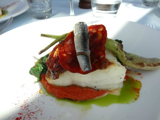 Oxo Tower Restaurant, Bar and Brasserie : Kabeljauw met chorizo en ansjovis