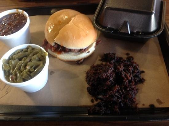 4 Rivers Smokehouse: pulled brisket sandwich, beans and grean beans