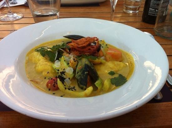 Porthminster Beach Cafe: curry mit Kokosnuss und Meeresfrüchten