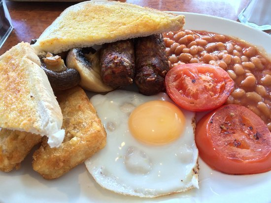 Oceans Cafe: Amazing hash browns and veggie sausages.