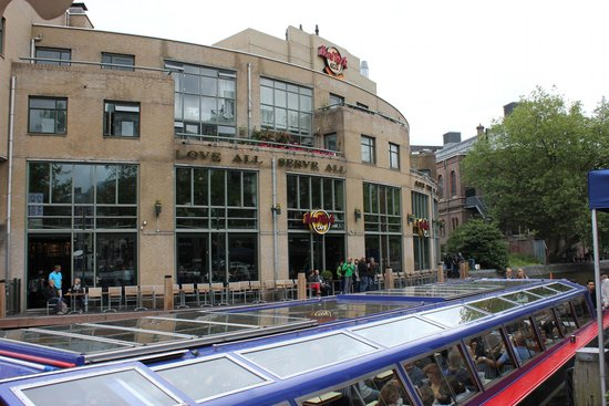 Hard Rock Cafe Amsterdam: View of the Hard Rock cafe from across the canal showing the outdoor seating available.