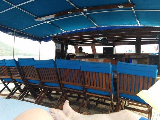 Marmaris Marina: dining area of gulet