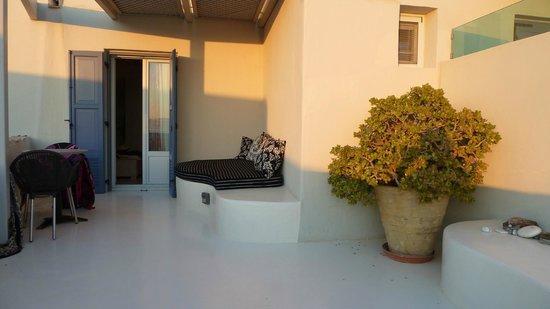 "Iria Beach Art Hotel: Balcony with the shaded ""lounge area"""