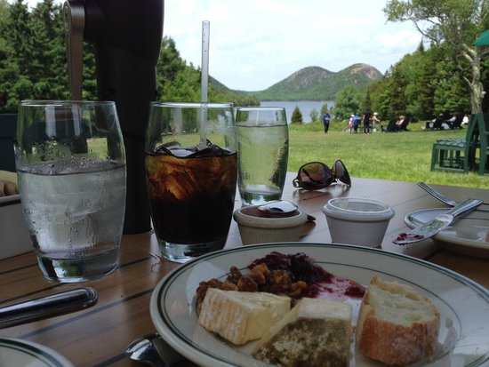 Jordan Pond House: 2nd cheese plate with the view from our table
