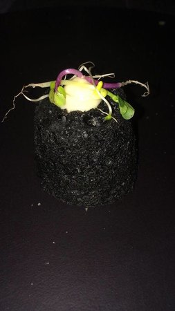 Ciasa Mia : Chef's welcome!  Light as a feather bread made with squid's ink. It was a bite of goodness!