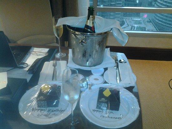 Mandarin Oriental, Kuala Lumpur: Moet & Chandon w/ chocolate cake surprise