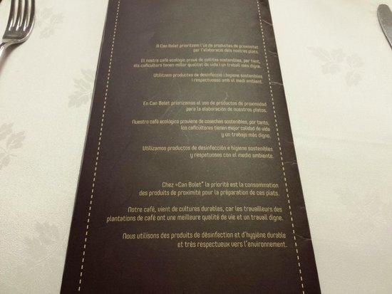 Declaración de intenciones-CARTA- Restaurante Can Bolet (Lloret de Mar)