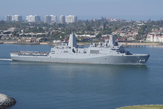 Marriott Marquis San Diego Marina: Naval Ship passing by.